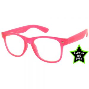 2a200673bef OWL ® Eyewear Glow in the Dark Sunglasses Pink Frame Clear Lens (One Pair)