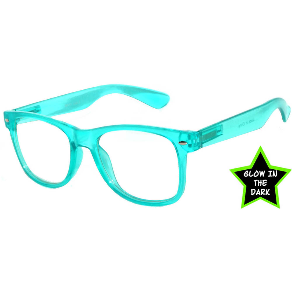 9e8b4383b OWL ® Eyewear Glow in the Dark Sunglasses Turquoise Frame Clear Lens (One  Pair)