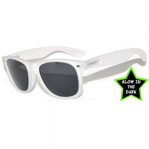 1 pair of Glow in the Dark Sunglasses Smoke Lens White