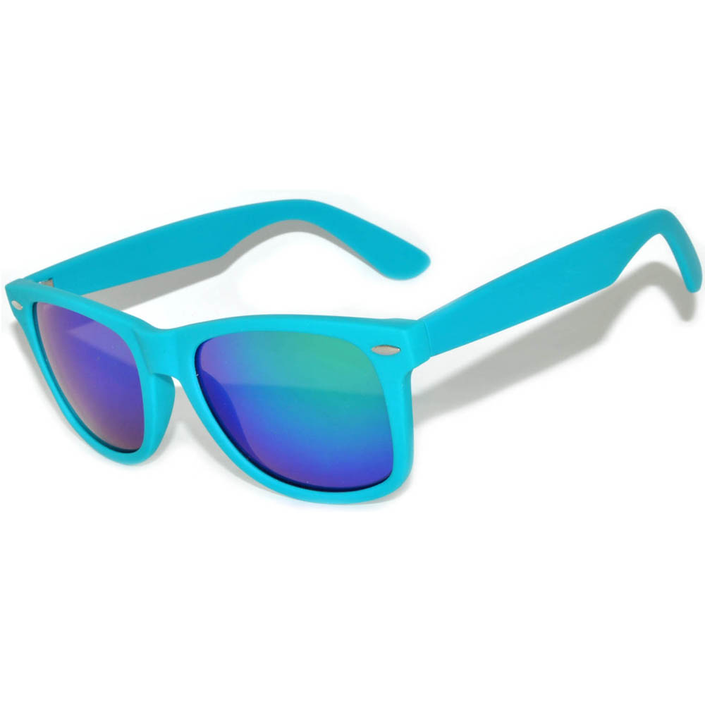 1 pair of Sunglasses Matte Frame Mirror Lens Turquoise