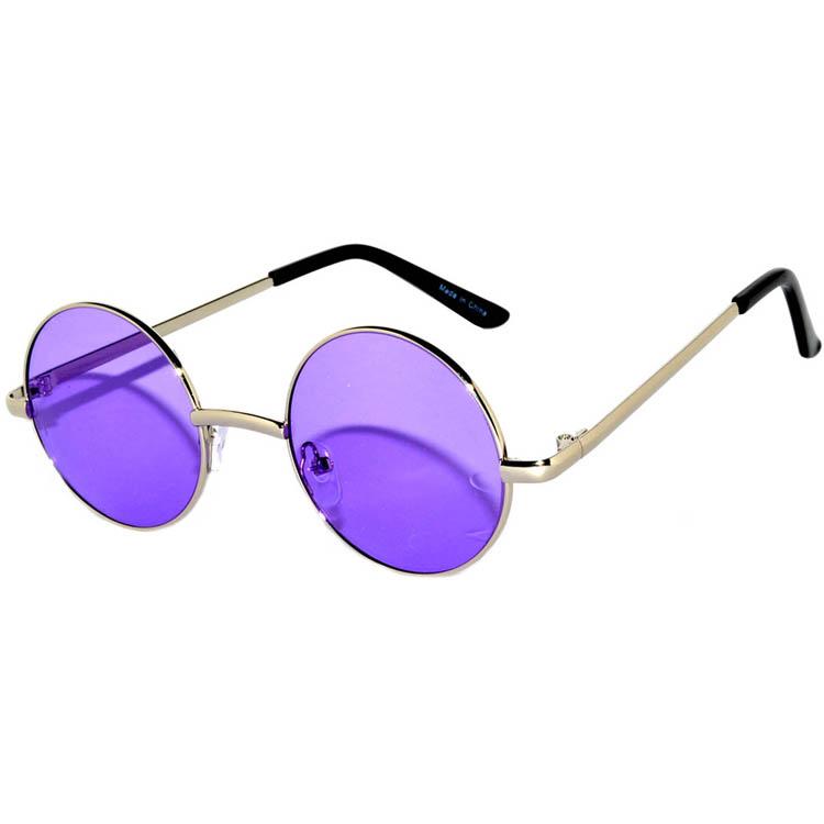 purple lens small round sunglasses metal