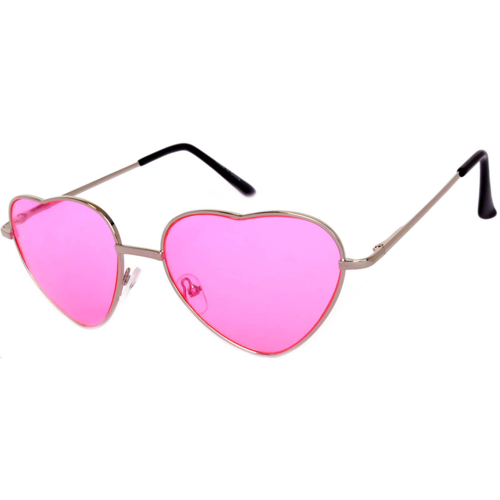 dbb118f6a03 OWL ® Eyewear Sunglasses Heart Women s Metal Silver Frame Pink Lens ...