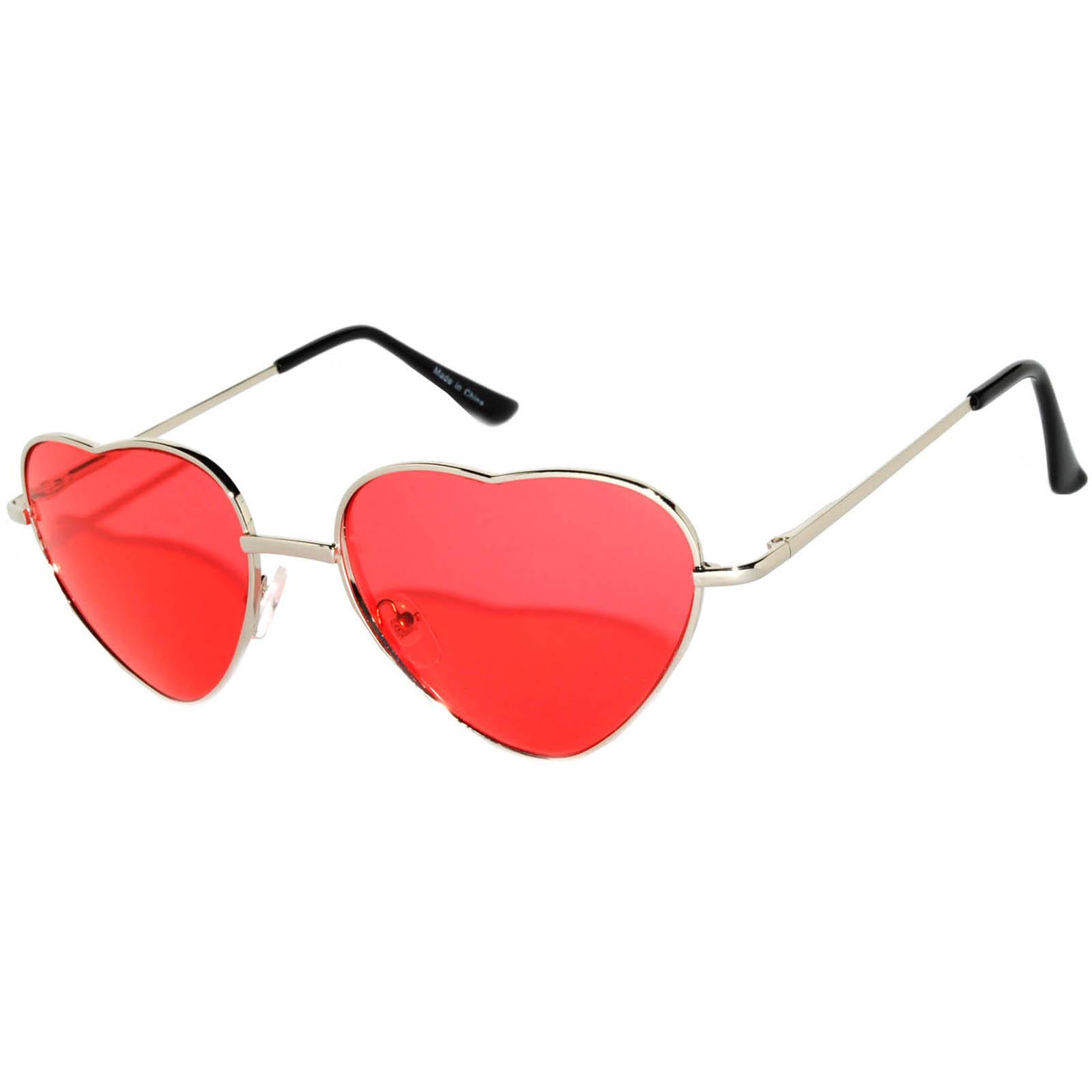 OWL ® Eyewear Sunglasses Heart Women\'s Metal Silver Frame Red Lens ...