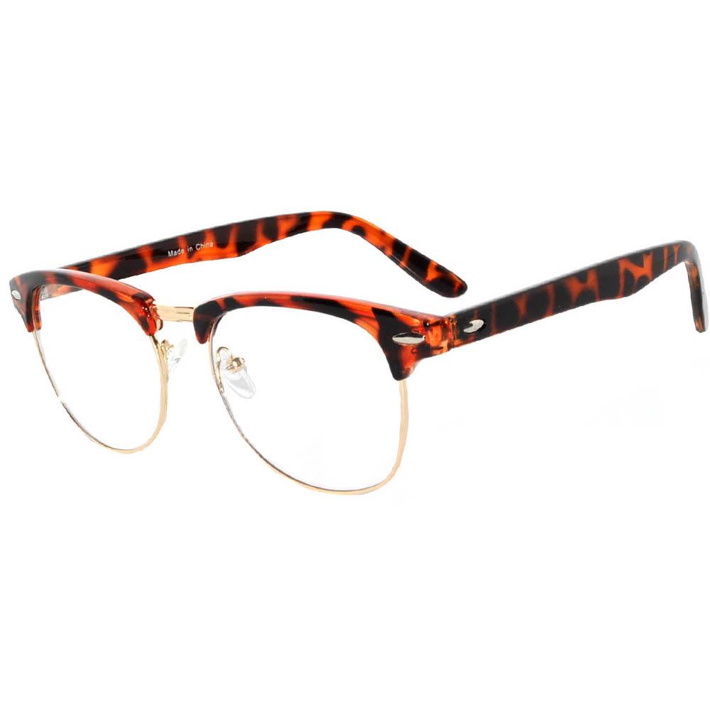 Half Frame Sunglasses Gold/Leopard Frame Clear Lens