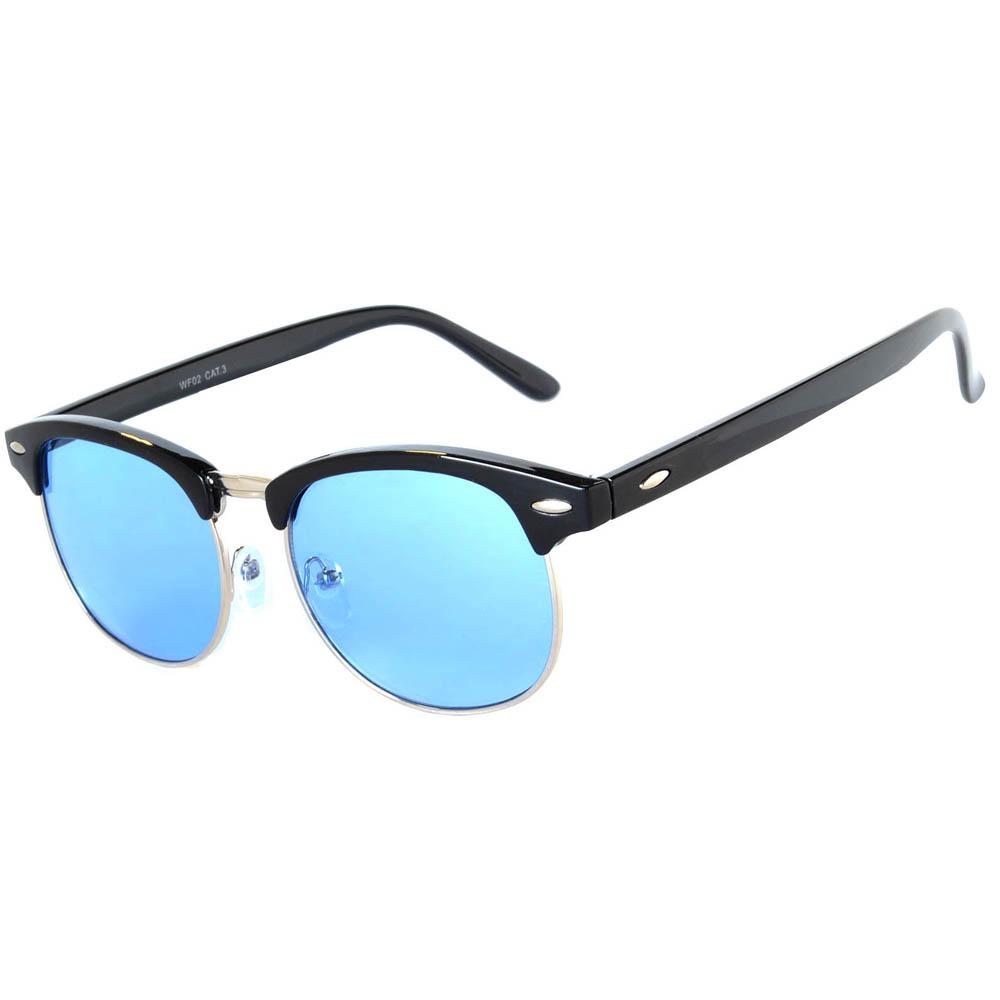 Half Frame Sunglasses Black/Silver Frame Blue Lens