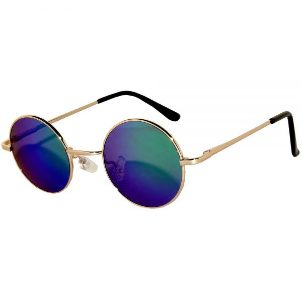 bcd1a6d62bb Sunglasses 43mm Women s Metal Round Vintage Gold Frame Blue Green Mirror  Lens