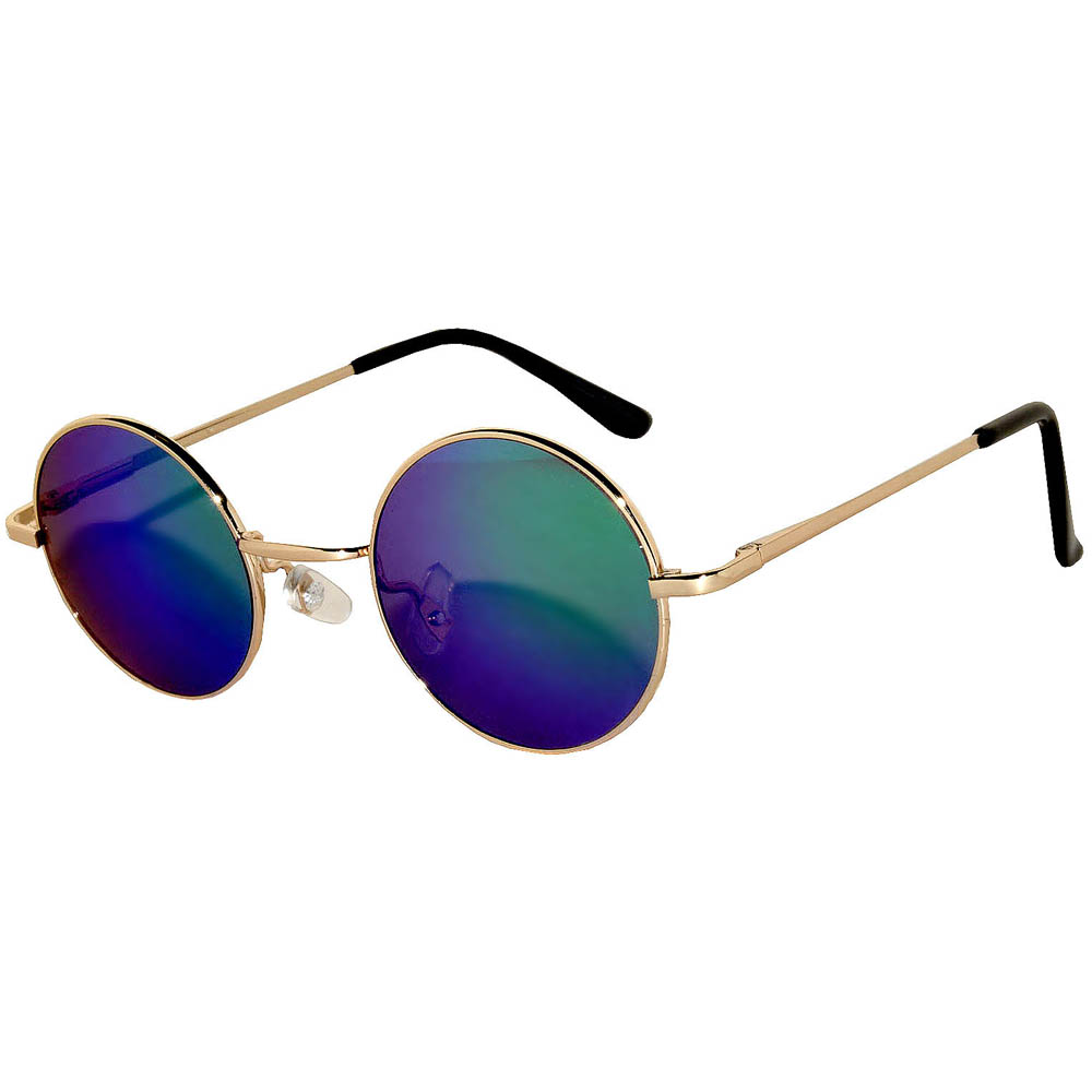 Sunglasses 43mm Women's Metal Round Vintage Gold Frame Blue/Green Mirror Lens