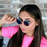 Sunglasses 43mm Women's Metal Round Vintage Gold Frame Blue/Green Mirror Lens