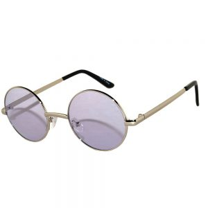 Sunglasses 43mm Women's Metal Round Circle Silver Frame Purple Lens