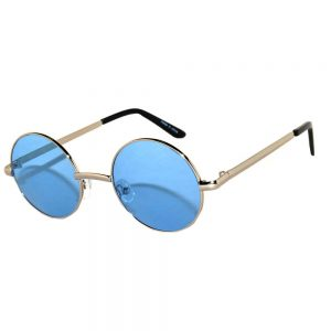 Wholesale Sunglasses 43mm Women's Metal Round Circle Silver Frame Blue Lens