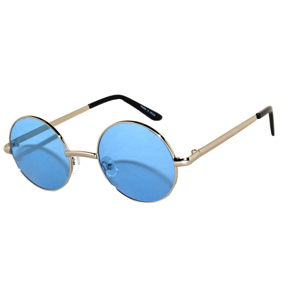 Wholesale Sunglasses 43mm Women s Metal Round Circle Silver Frame Blue Lens d28f2fa4f6