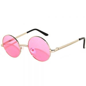 Sunglasses 43mm Women's Metal Round Circle Silver Frame Pink Lens