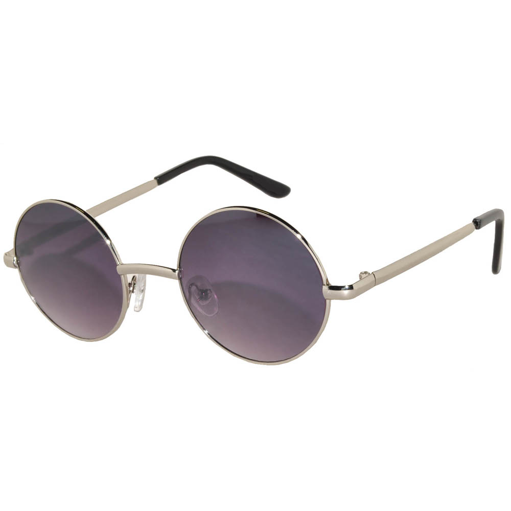 Sunglasses 43mm Women's Metal Round Circle Silver Frame Smoke Lens