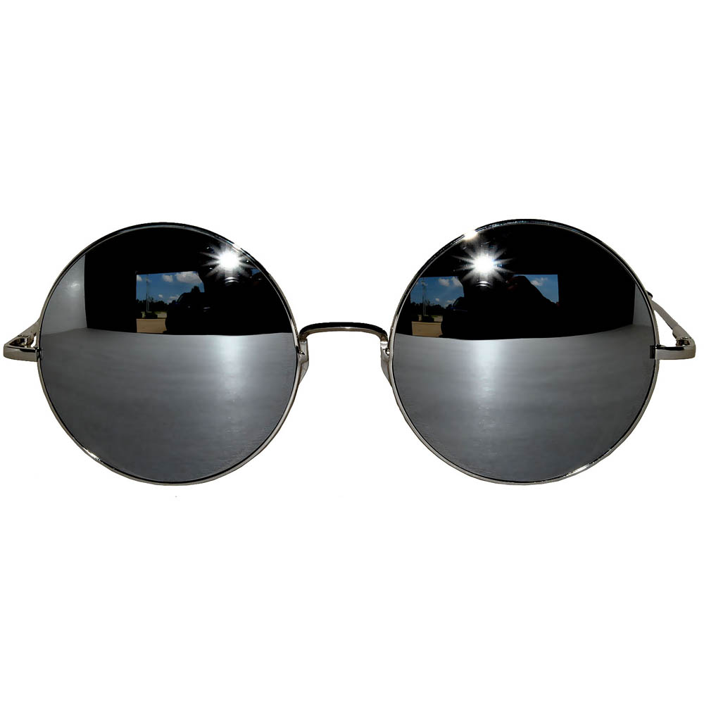 b7ad42d371 ... Sunglasses 56mm Women s Metal Round Circle Silver Frame Mirror Silver  Lens