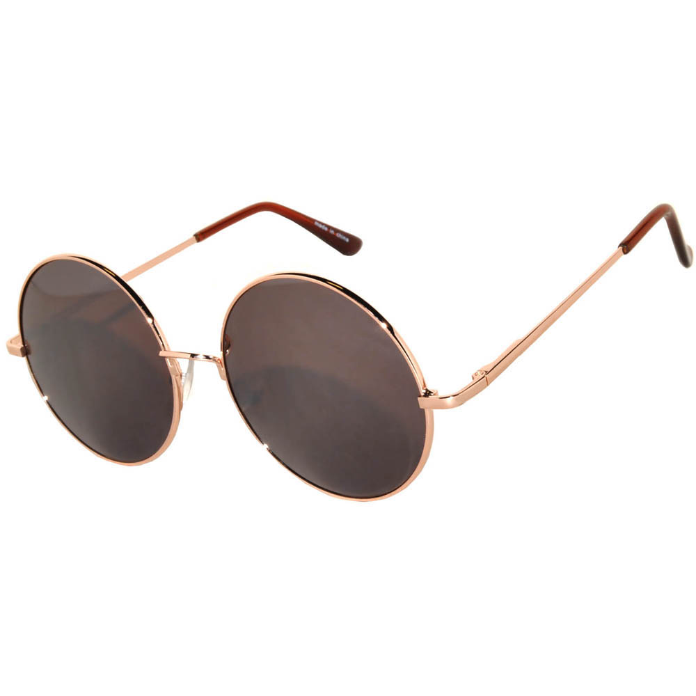Sunglasses 56mm Women's Metal Round Circle Gold Frame Mirror Brown Lens