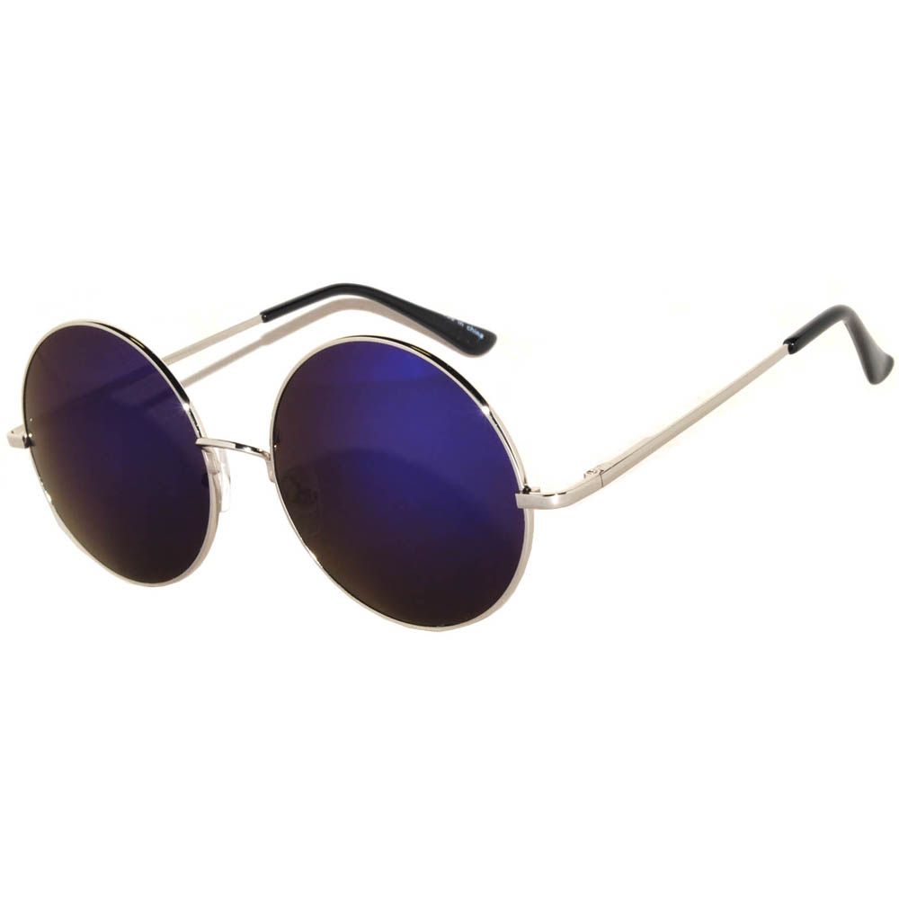 Sunglasses 56mm Women's Metal Round Circle Silver Frame Mirror Blue Lens