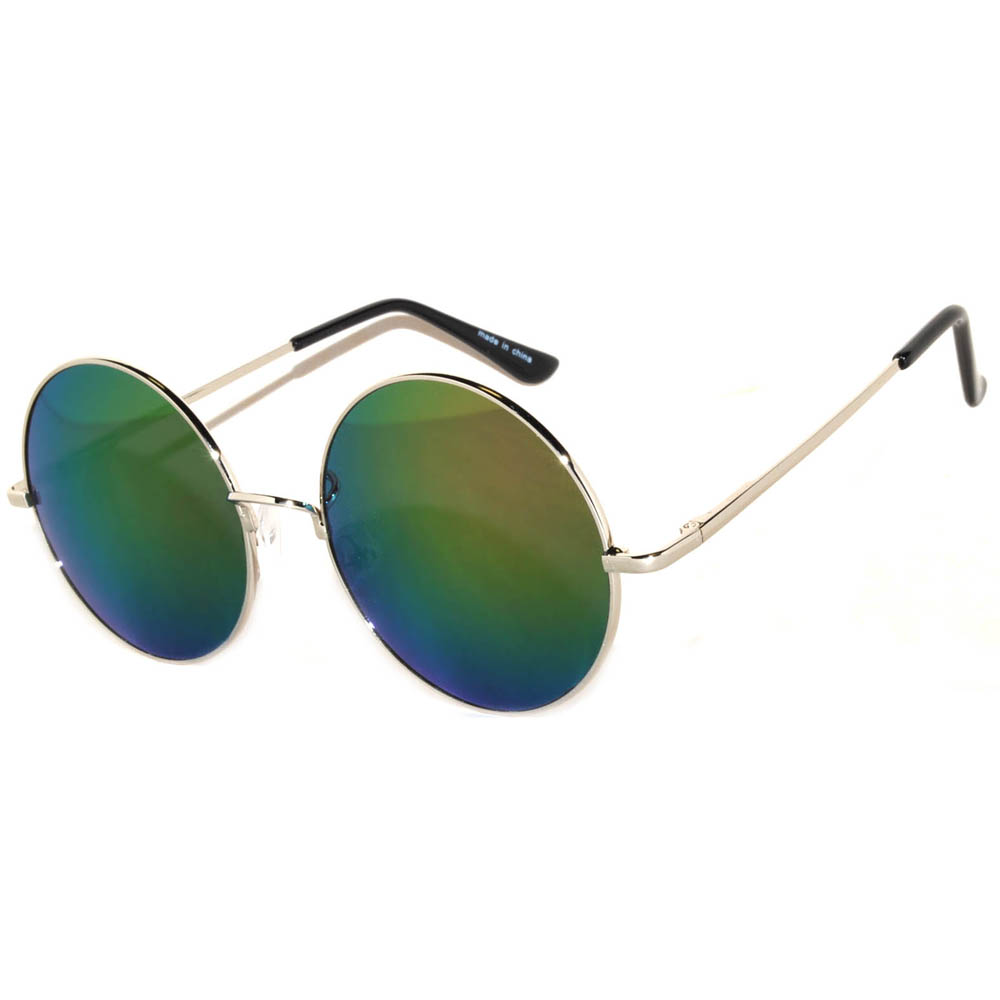 7e7874674ee Sunglasses 56mm Women s Metal Round Circle Silver Frame Mirror Multicolor  Lens