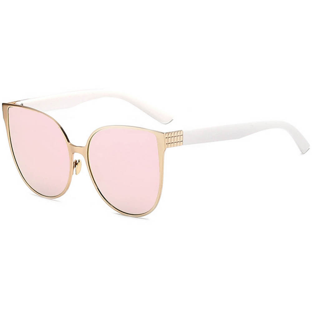 Women Metal Sunglasses Cat Gold Frame Pink Mirror Lens