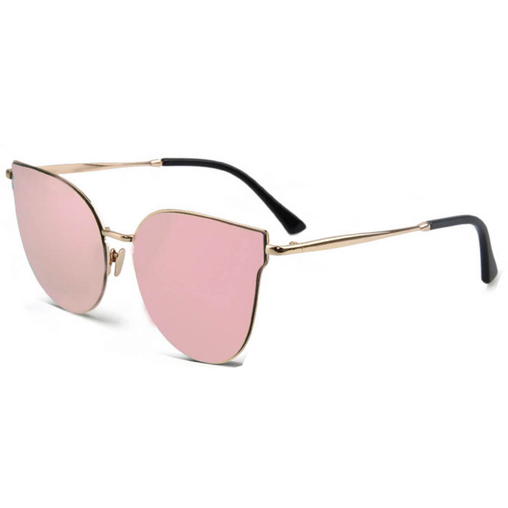 Women Metal Sunglasses Fashion Gold Frame Pink Mirror Lens