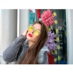 Women Metal Sunglasses Glamour Silver Frame Yellow Clear Lens