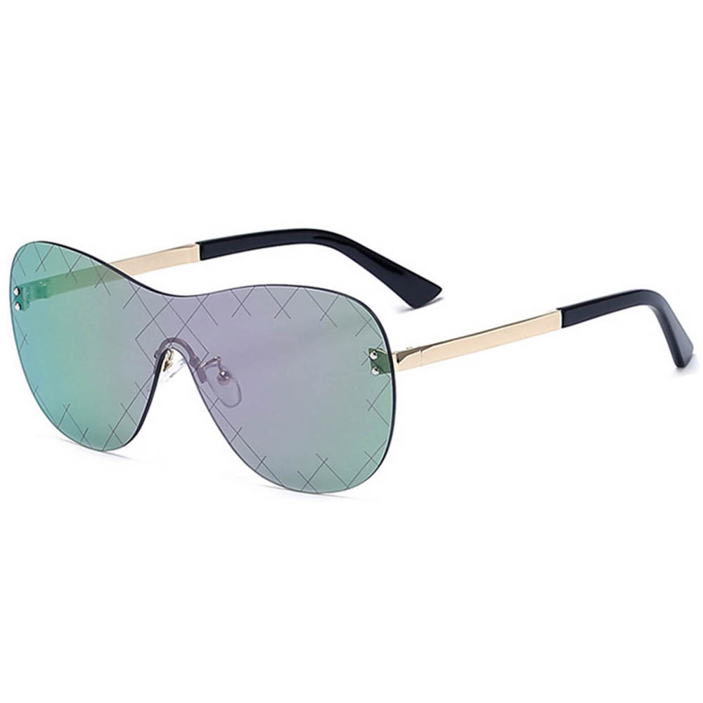 Women Metal Sunglasses Fashion Gold Frame Multicolor Mirror Lens