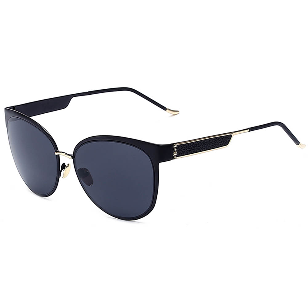 Sunglasses Womens Metal Fashion Black Frame Smoke Lens