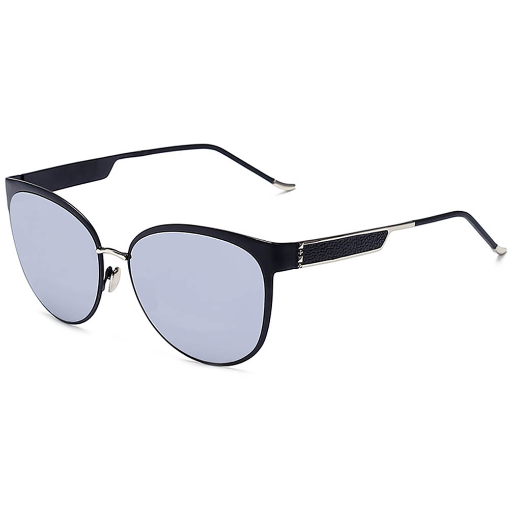 Sunglasses Womens Metal Fashion Silver Frame Silver Mirror Lens