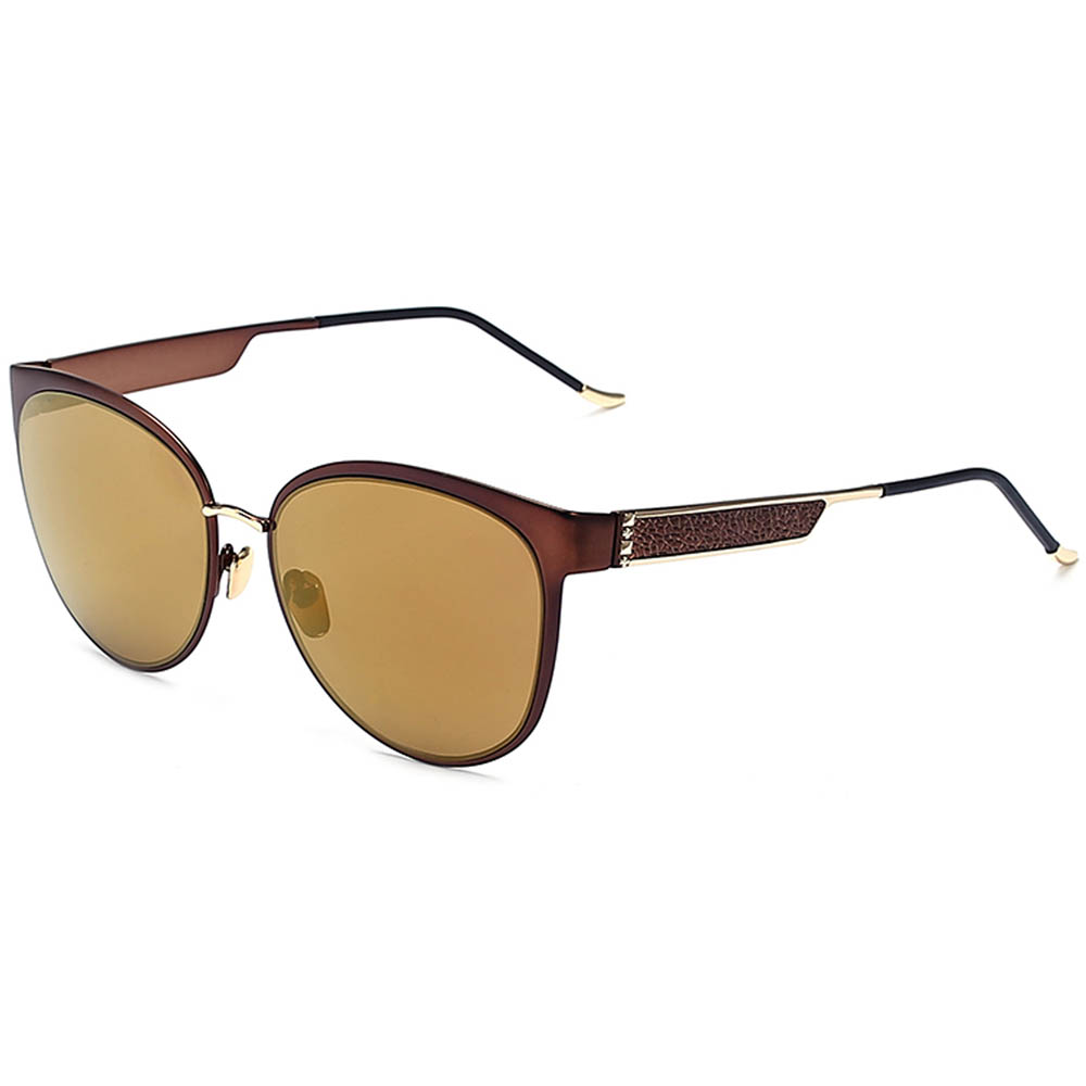 Sunglasses Womens Metal Fashion Gold Frame Brown Mirror Lens