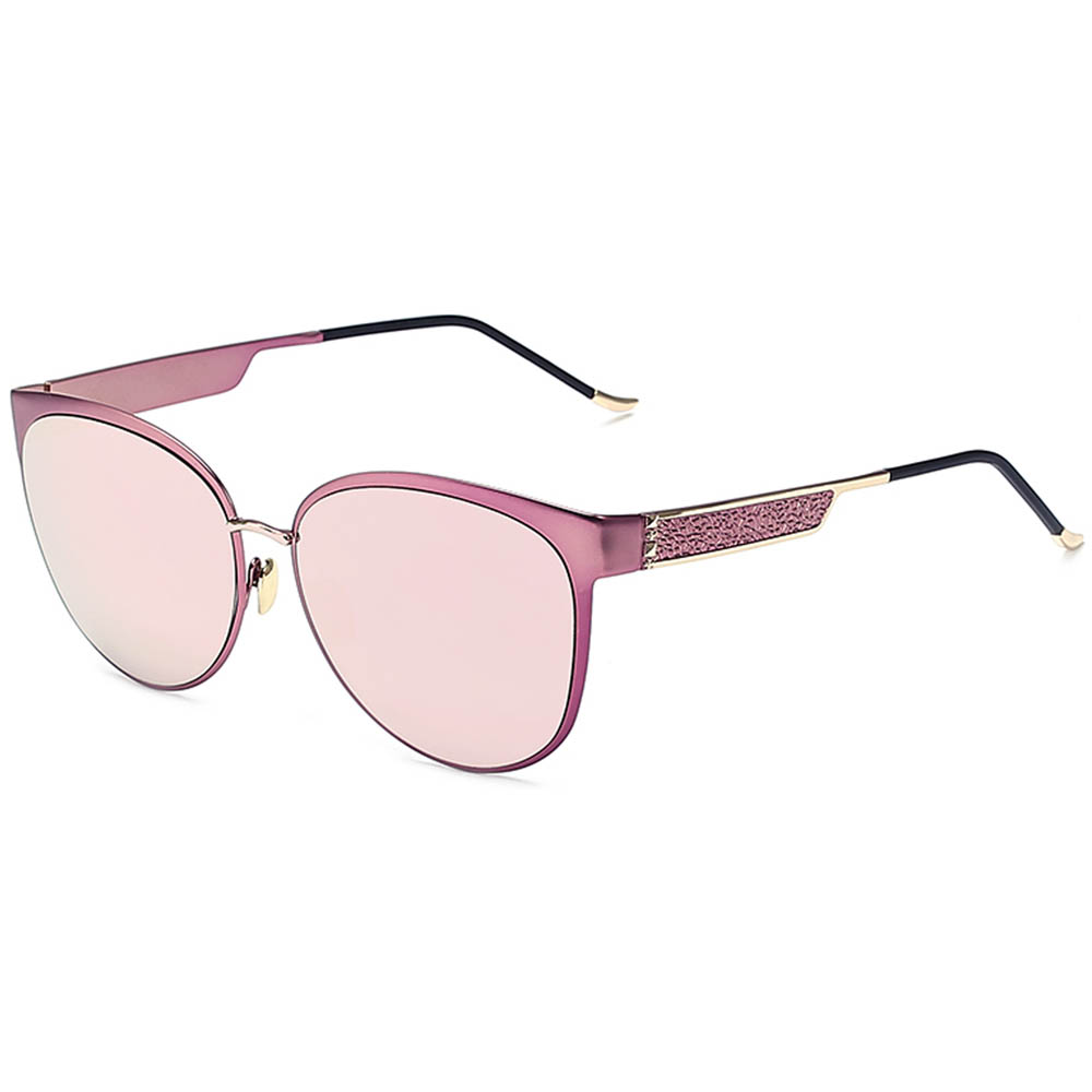 Sunglasses Womens Metal Fashion Gold Frame Pink Mirror Lens