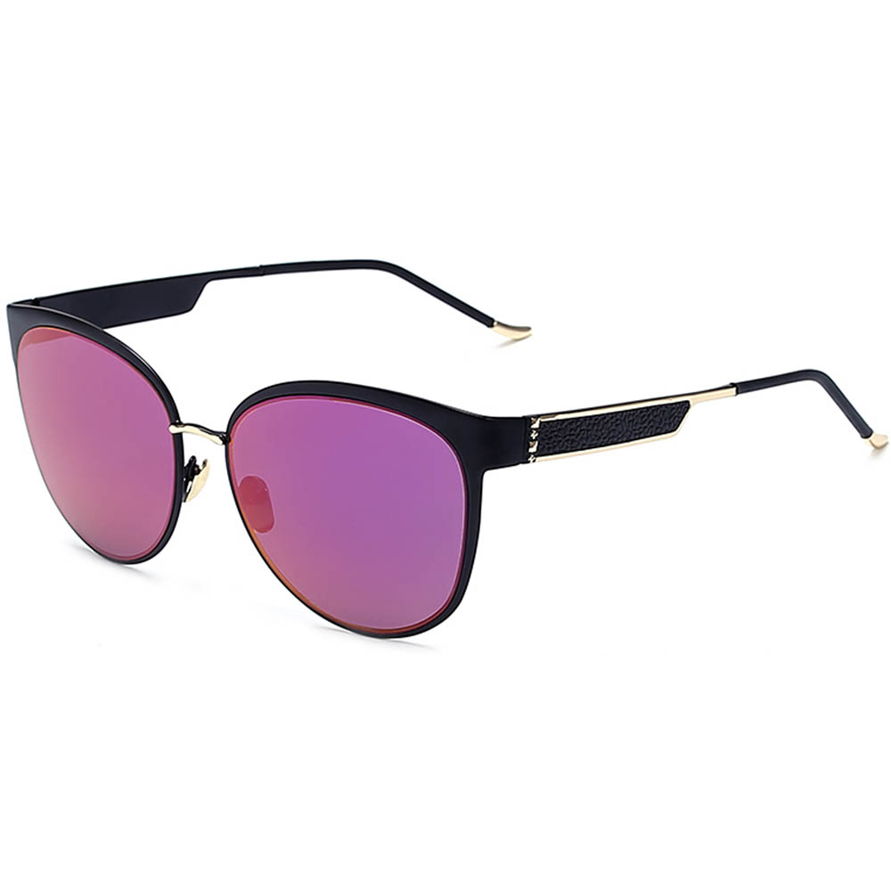 Sunglasses Womens Metal Fashion Gold Frame Purple Mirror Lens