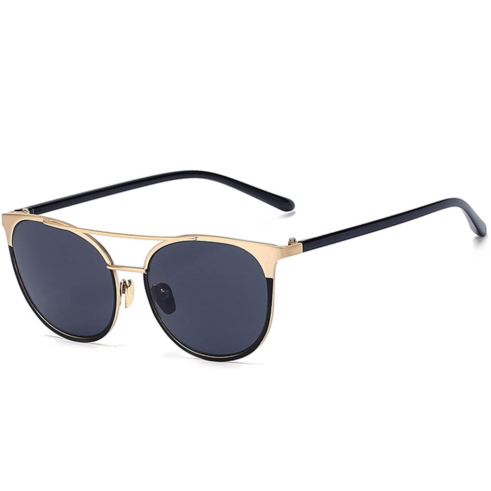 Sunglasses 86026 C1 Women's Metal Fashion Black/Gold Frame Smoke Lens