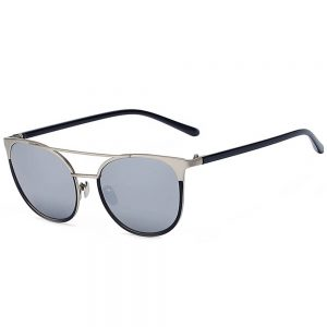 Sunglasses 86026 C2 Women's Metal Fashion Black/Silver Frame Silver Lens
