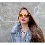 Sunglasses 86026 C3 Women's Metal Fashion Gold/Leopard Frame Brown Mirror Lens