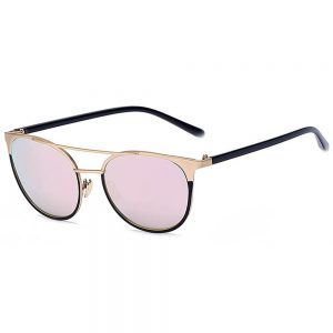 Sunglasses 86026 C4 Women's Metal Fashion Gold Frame Fire Mirror Lens