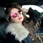 Sunglasses 86026 C5 Women's Metal Fashion Gold Frame Purple Mirror Lens