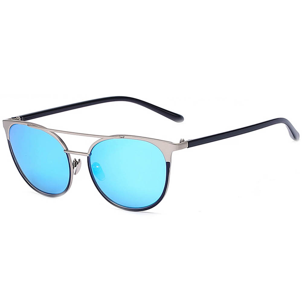 Sunglasses 86026 C4 Women's Metal Fashion Silver Frame Blue Mirror Lens
