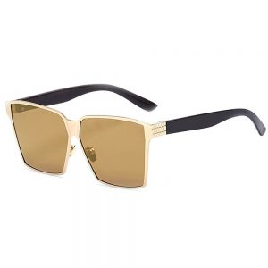 Sunglasses 86029 C1 Women's Metal Fashion Black/Gold Frame Silver Mirror Lens