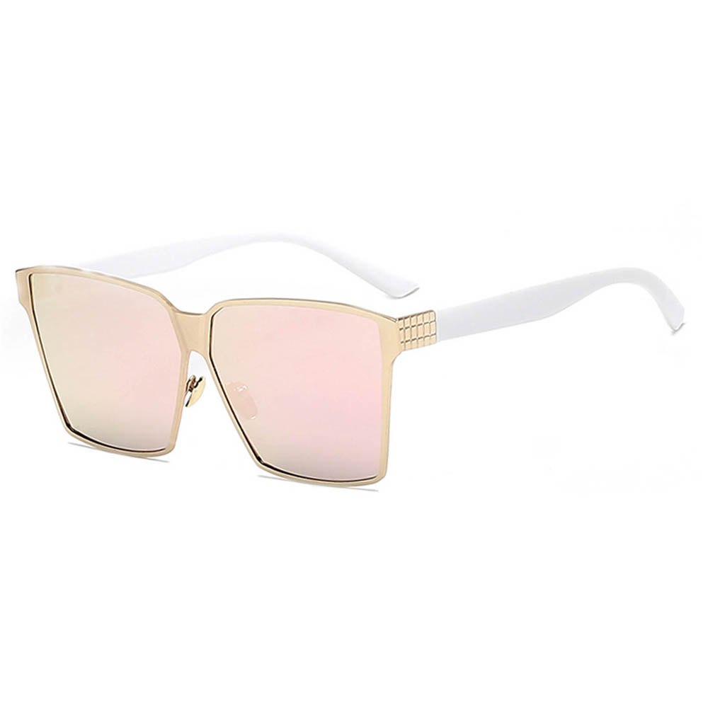 Sunglasses 86029 C1 Women's Metal Fashion White/Gold Frame Pink Mirror Lens