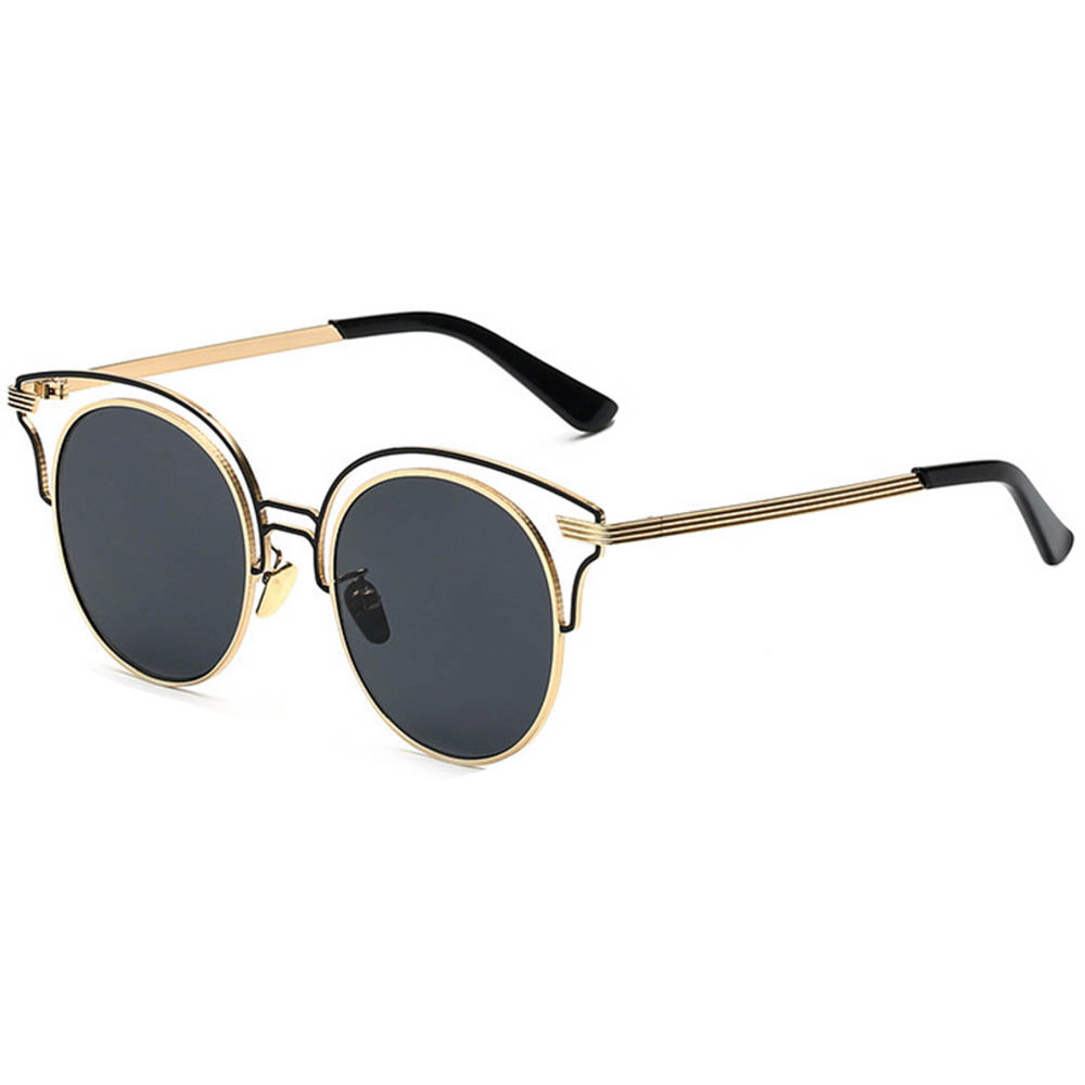 Women Metal Sunglasses Round Fashion Gold Frame Smoke Lens