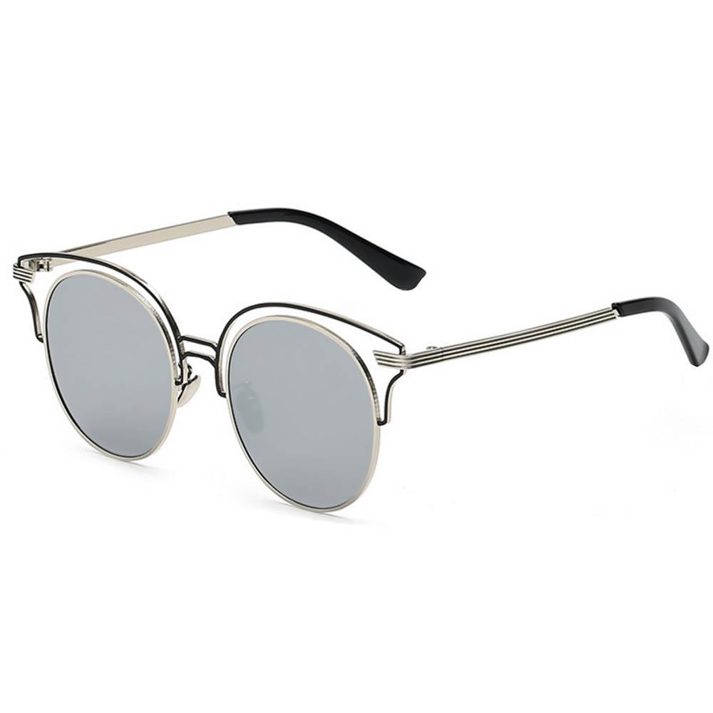 Women Metal Sunglasses Round Fashion Silver Frame Silver Mirror Lens