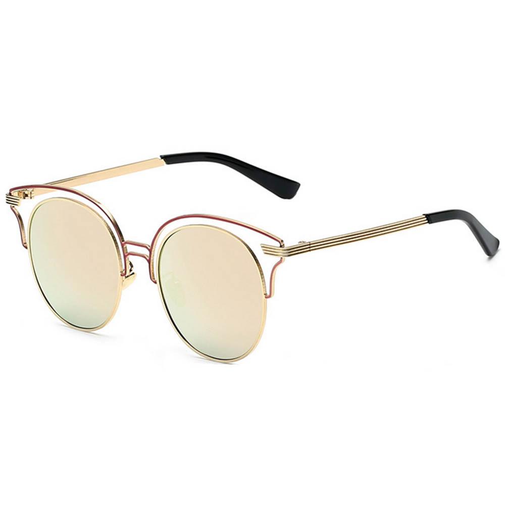 Women Metal Sunglasses Round Fashion Gold Frame Fire Mirror Lens