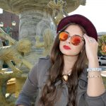 Women Metal Sunglasses Round Fashion Gold Frame Red Mirror Lens