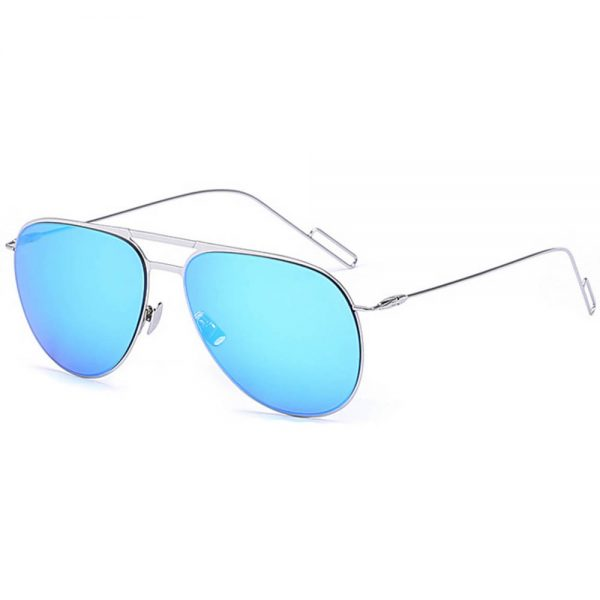 Women Metal Sunglasses Aviator Silver Frame Blue Mirror Lens