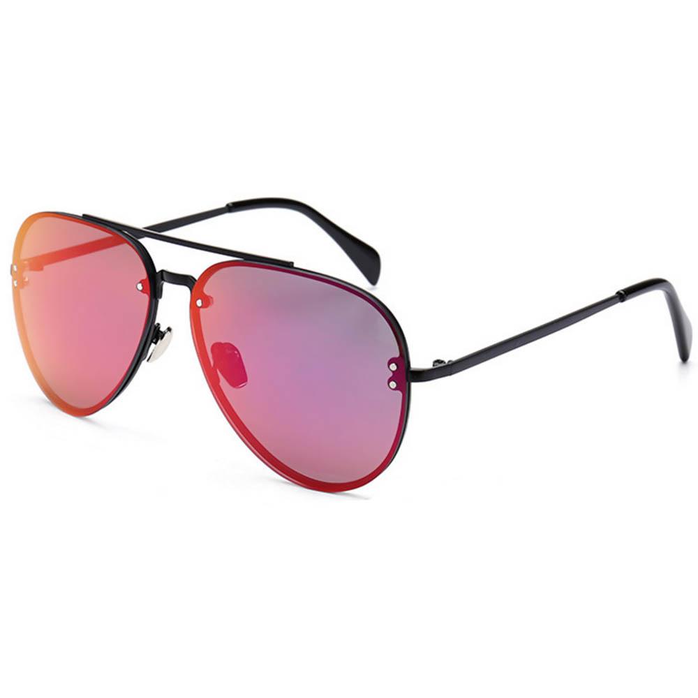 Sunglasses 86021 C5 Women's Metal Fashion Black Frame Purple Mirror Lens