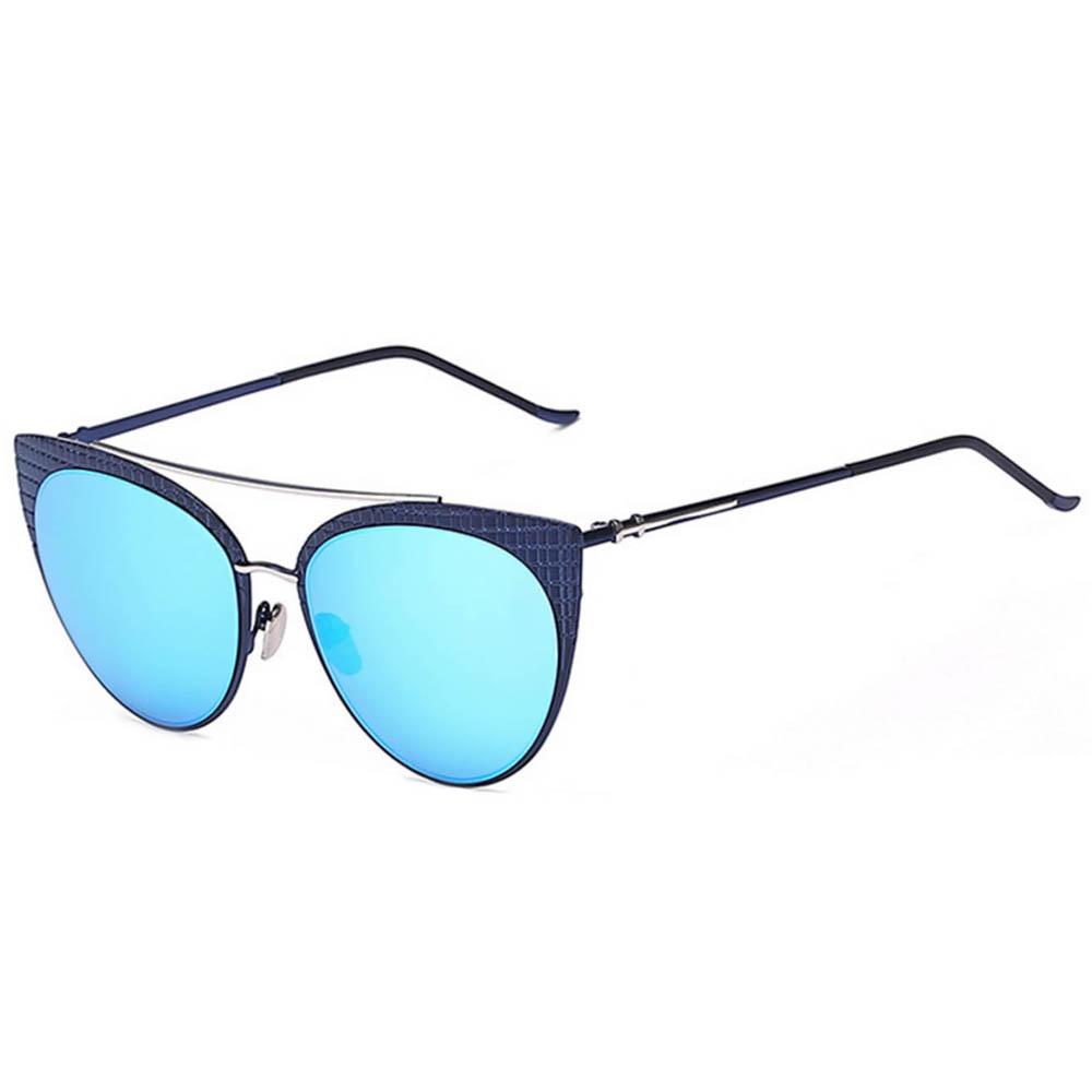 Sunglasses Womens Metal Cat Eye Black/Silver Frame Blue Mirror Lens