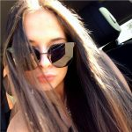 Women Fashion Metal Sunglasses Black Frame Smoke Lens