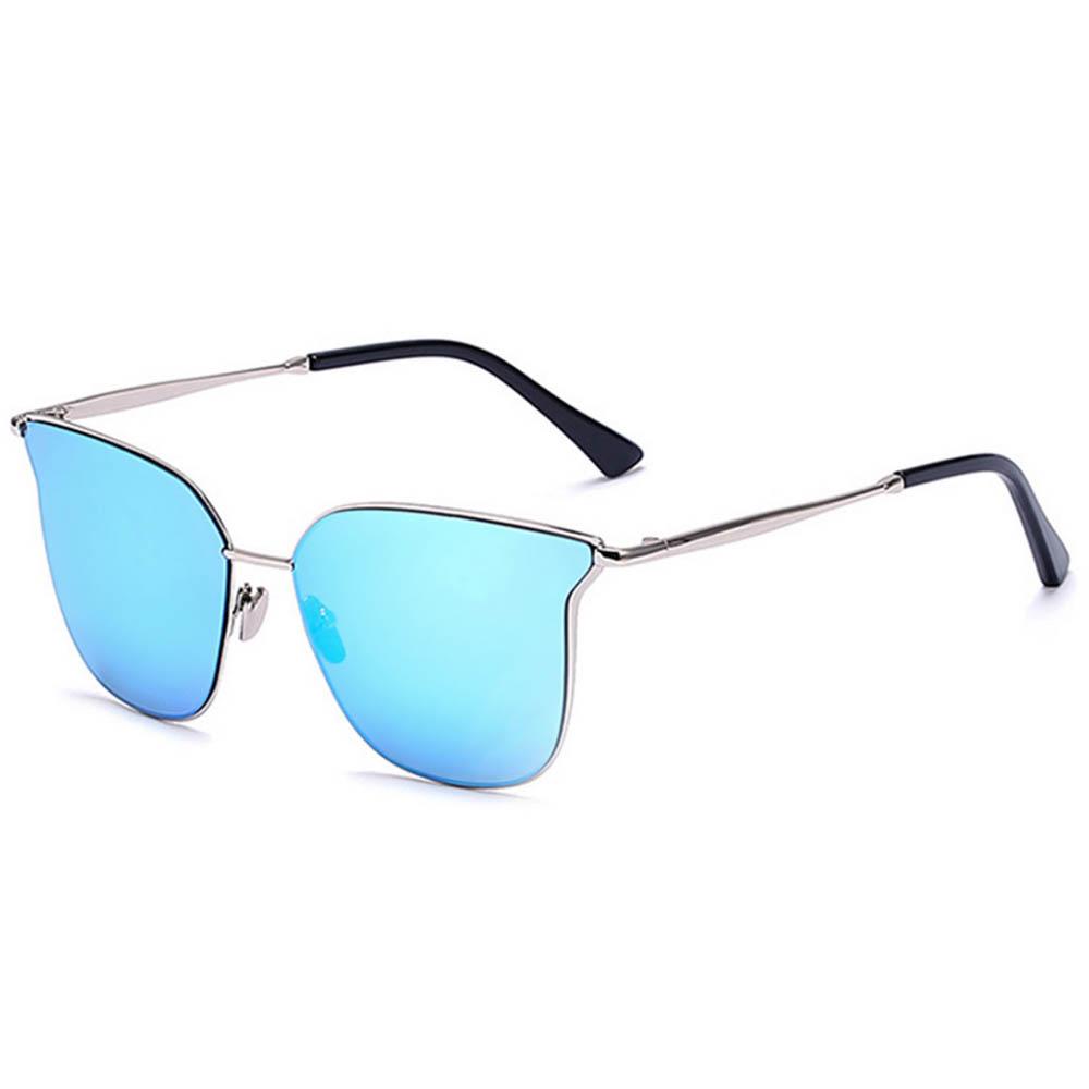 Women Metal Sunglasses Fashion Silver Frame Blue Mirror Lens