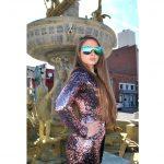 OWL ® Eyewear Sunglasses 86012 C7 Women's Metal Fashion Gold Frame Blue Mirror Lens One Pair