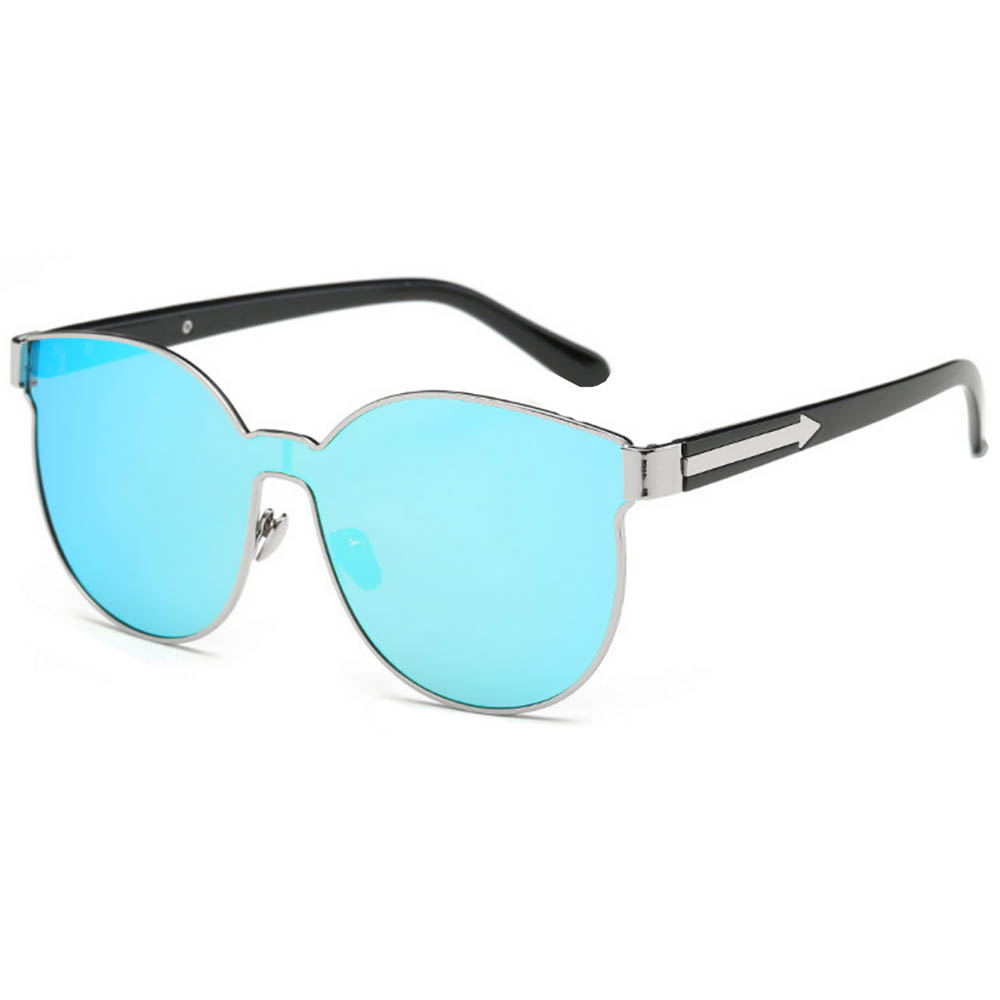 Sunglasses 86036 C6 Women's Metal Fashion Silver/Blue Frame Blue Mirror Lens