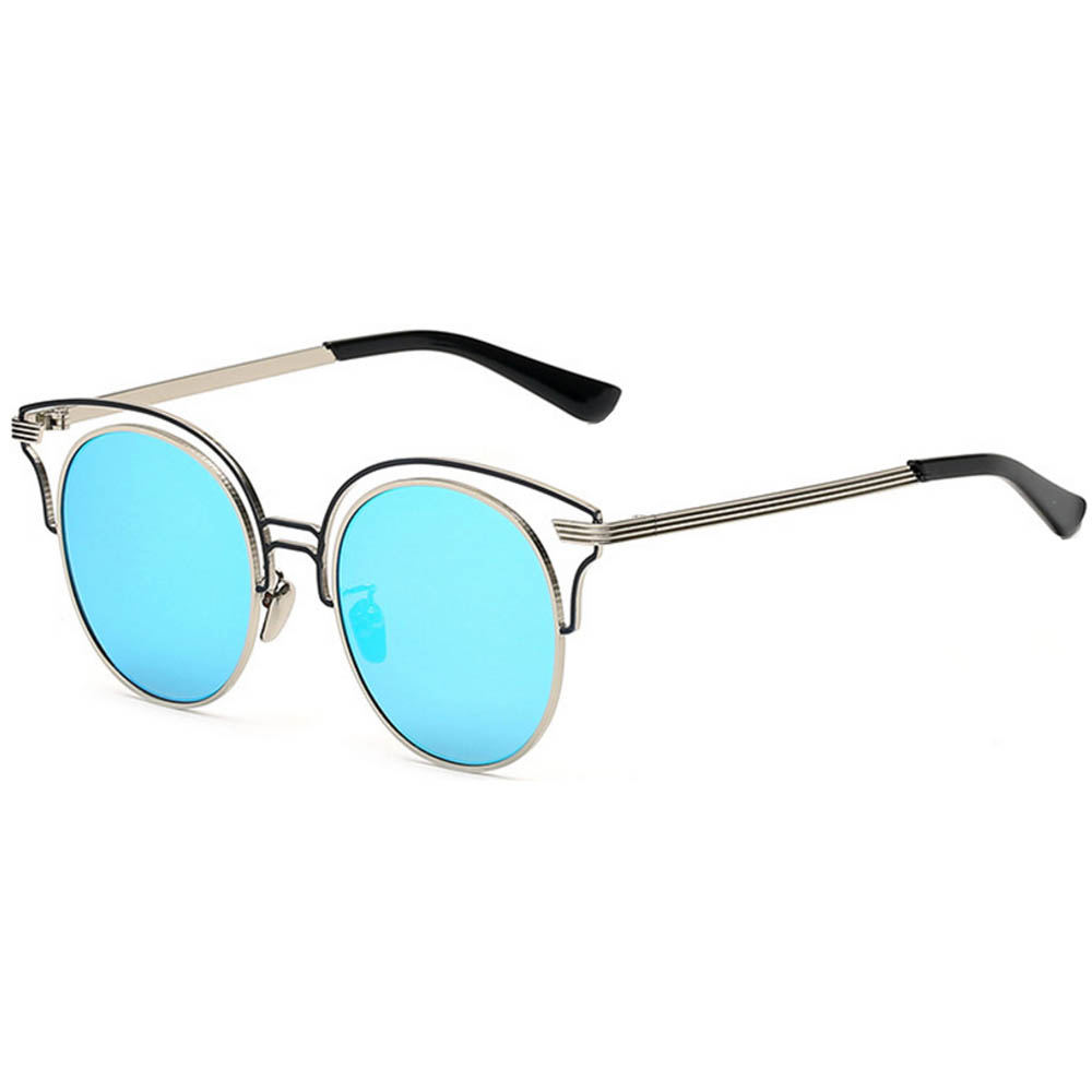 Women Metal Sungl Round Fashion Silver Frame Blue Mirror Lens